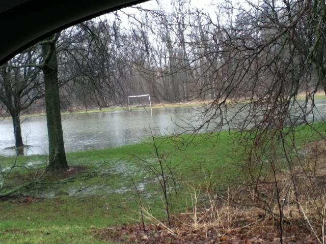 Flooded soccer field along Menomonee Parkway