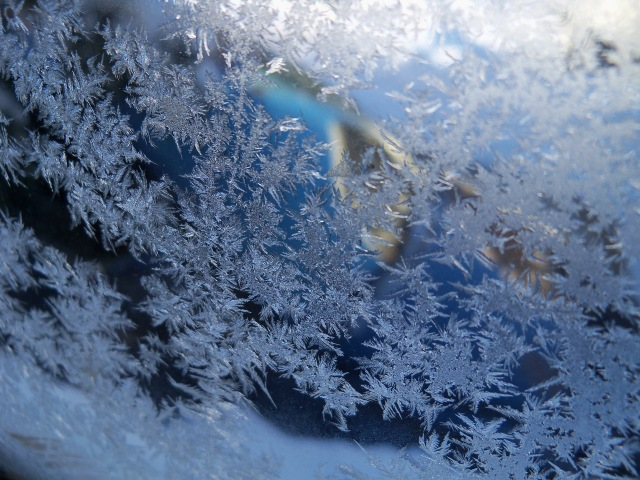 Frost on porch window