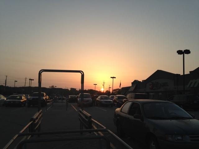 Sunset across parking lot