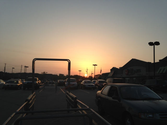 Sunset across parking lot