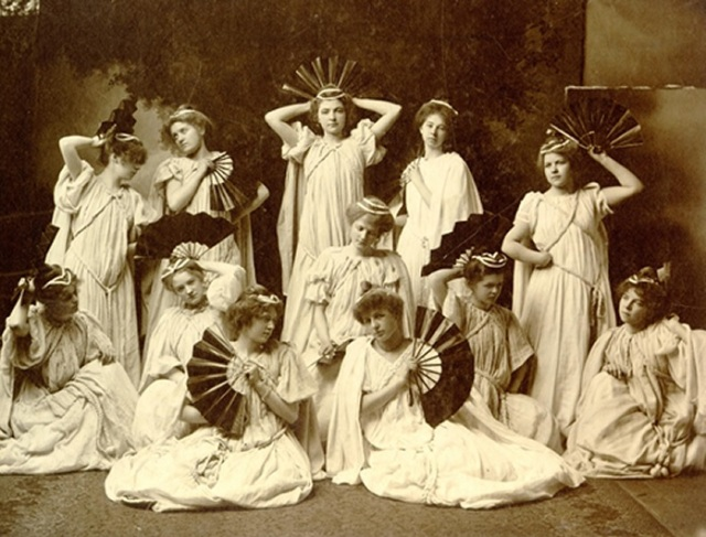 Acadia Ladies Seminary Physical Cultural Exhibition Scene from fan drill 1901 - retrieved from February 2015 internet archive