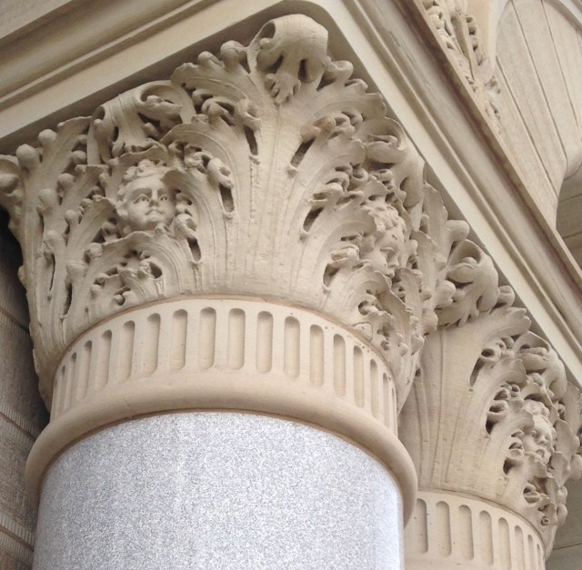 Milwaukee City Hall cherub faces in Corinthian columns 2
