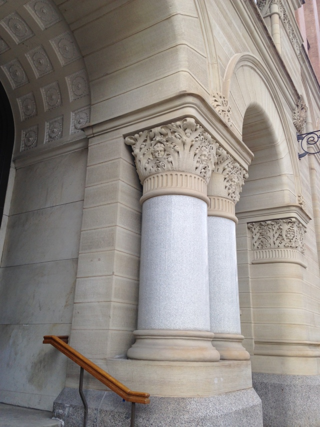 Milwaukee City Hall coffered side entry and Corinthian columns