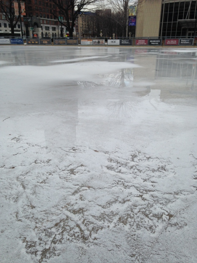 melting ice at Red Arrow park