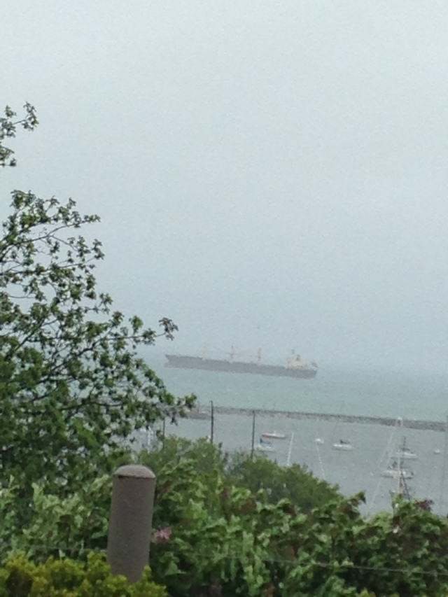 Ship on Lake Michigan, from Milwaukee bluff on a windy, rainy day katherinewikoff.com
