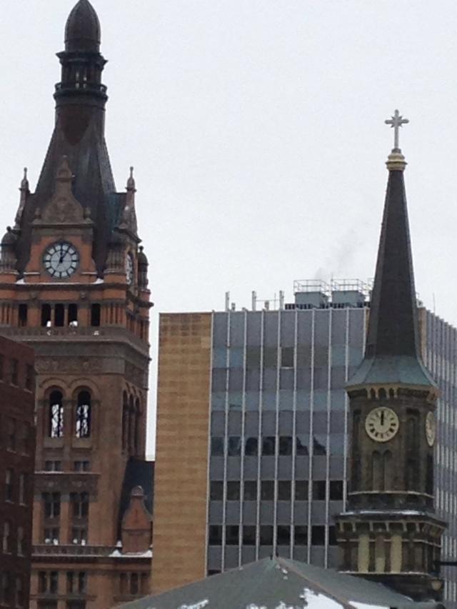 Milwaukee's City Hall and Old St. Mary's Church