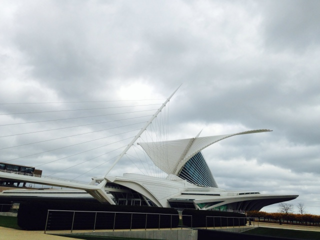 Milwaukee Art Museum Calatrava addition on a gray day