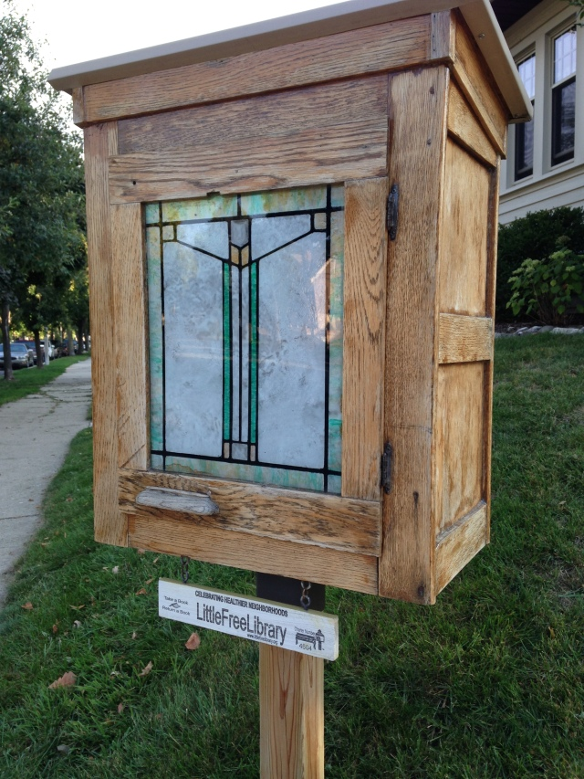 Little Free Library with stained glass