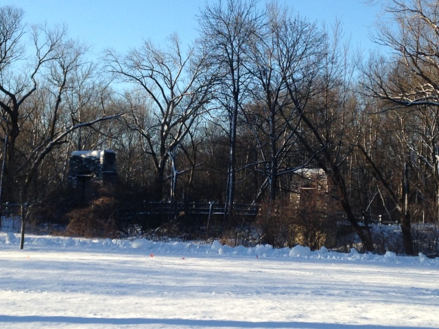 Menomonee River, early morning January, footbridge