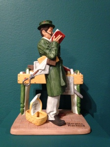 """The Bookworm,"" Danbury Mint replica figurine"