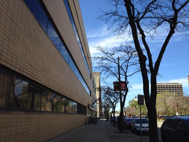 Blue skies over MSOE Campus Center / Blatz Bottle House