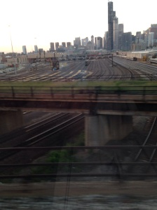 View of Chicago, looking north, from the train yard near Soldier Field aboard the City of New Orleans