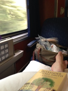 Enjoying the trip in an Amtrak bedroom