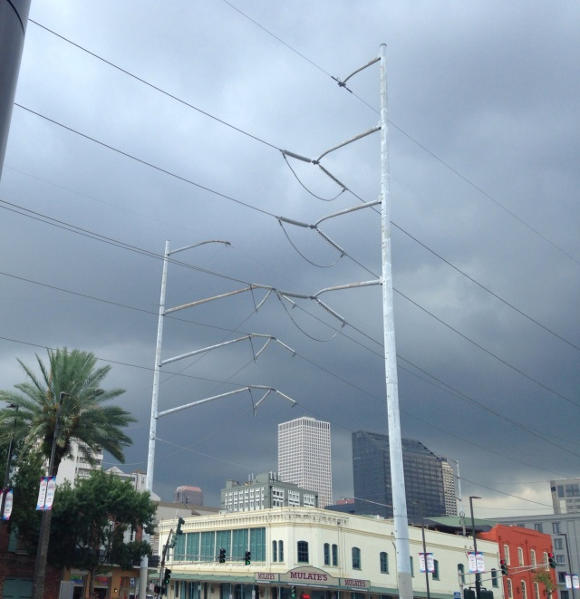 Storm clouds over Mulates In New Orleans