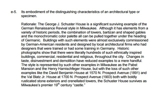 From Page 13 of the Historic Designation Study Report seeking City of Milwaukee Historic Structure status for the George J. Schuster house, 3209 W. Wells Street (no date)
