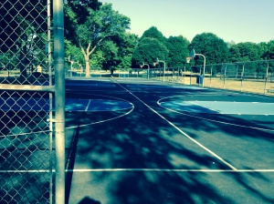 Former tennis courts now basketball courts