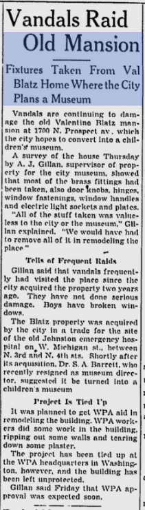 MIlwaukee Journal article on Blatz mansion vandalism - dated December 22, 1939 (from Google News)