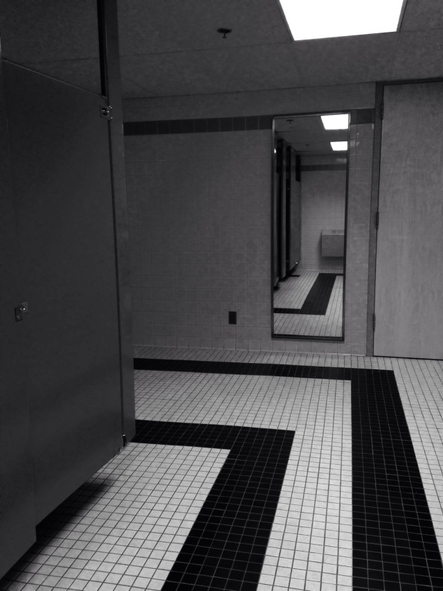 Public Restroom in Black and White