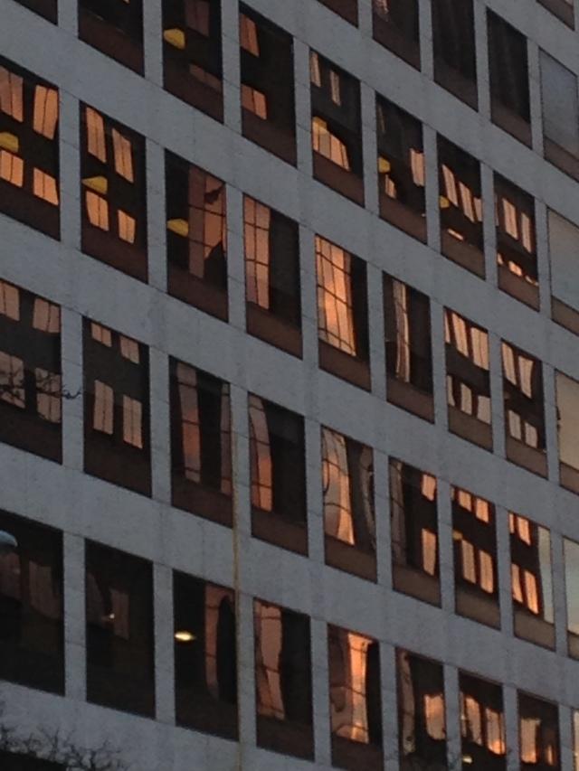Nearly Sunset (evening sunlight reflecting office windows)