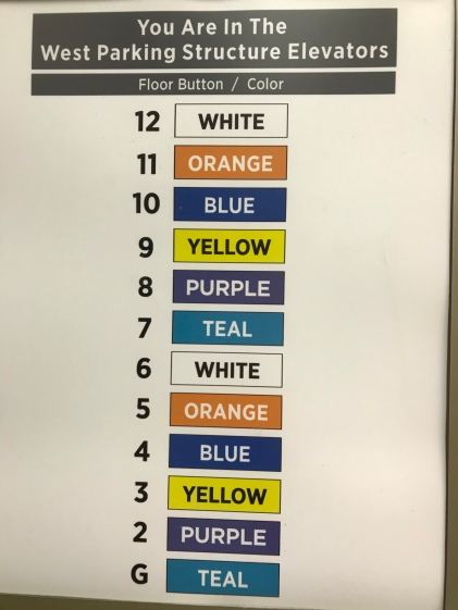 color-coded list of floor numbers inside elevator door, with names of colors inside colored boxes